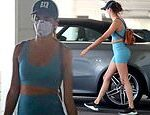 Sara Sampaio dons workout gear and a mask as she steps out to CVS in LA amid coronavirus shutdown