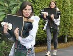 Davina McCall moves items into her new home amid the coronavirus crisis