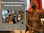 Amy Schumer wears her 'fanciest dress' to receive her first dose of a COVID-19 vaccination