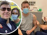 Ben Shephard shows off his strong biceps as he receives his first dose of the COVID-19 vaccine