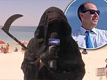 Lawyer dresses as Grim Reaper to protest reopening of Florida beaches during the COVID-19 outbreak