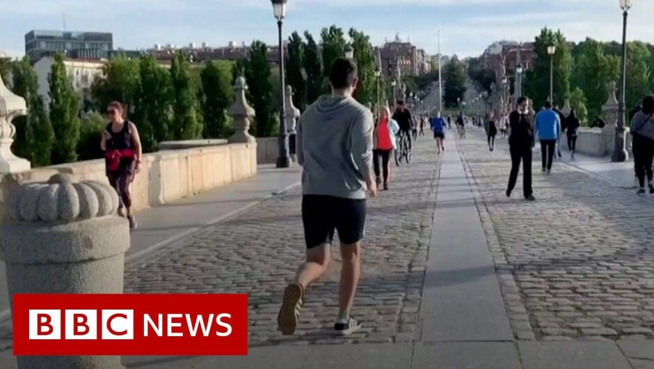 Coronavirus: Adults enjoy first outdoor exercise as Spain relaxes lockdown measures – BBC News