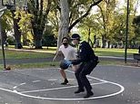 Covid-19 Australia: 'Cool' cops play basketball with a group of men during Melbourne lockdown
