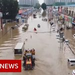 Drone video shows scale of China floods damage – BBC News